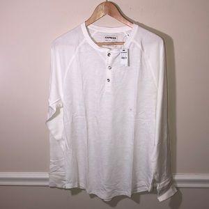 EXPRESS  men's white long sleeve shirt NWT Large
